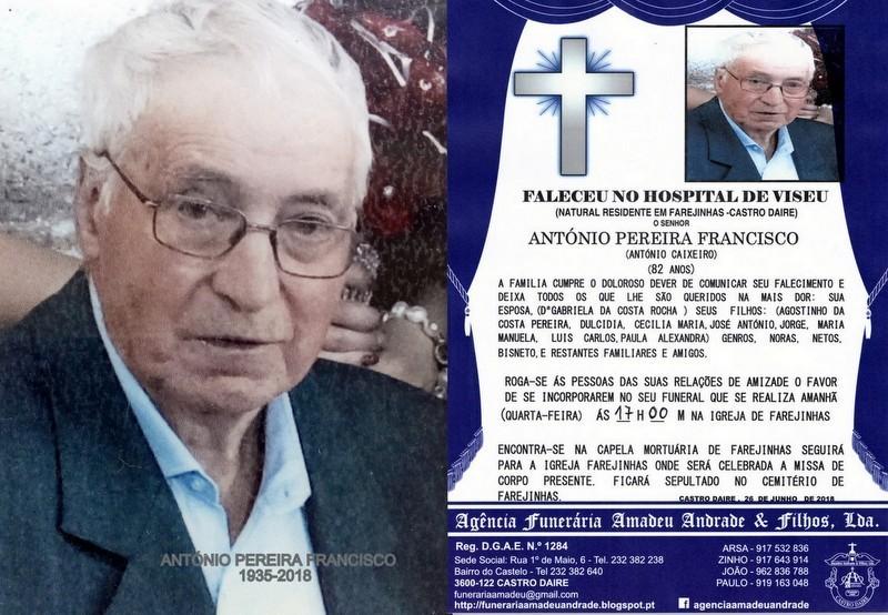 FOTO RIP- DE ANTÓNIO PEREIRA FRANCISCO- 82 ANOS (