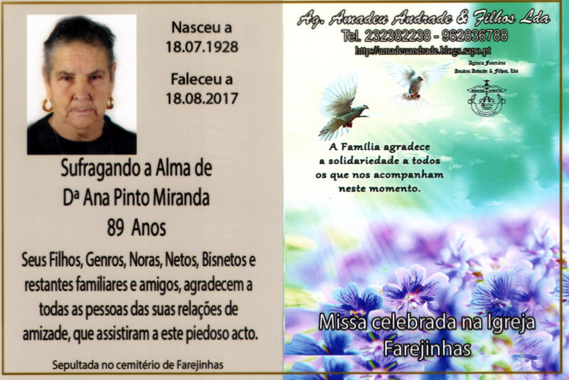 CARTÃO DE ANA PINTO MIRANDA-89 ANOS (FAREJINHAS).