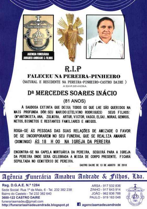 RIP3- DE MARCEDES SOARES INÁCIO-81 ANOS (PEREIRA-