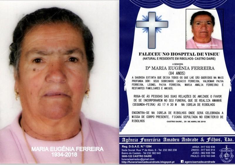 FOTO RIP- DE MARIA EUGÉNIA FERREIRA-84 ANOS (RIBO