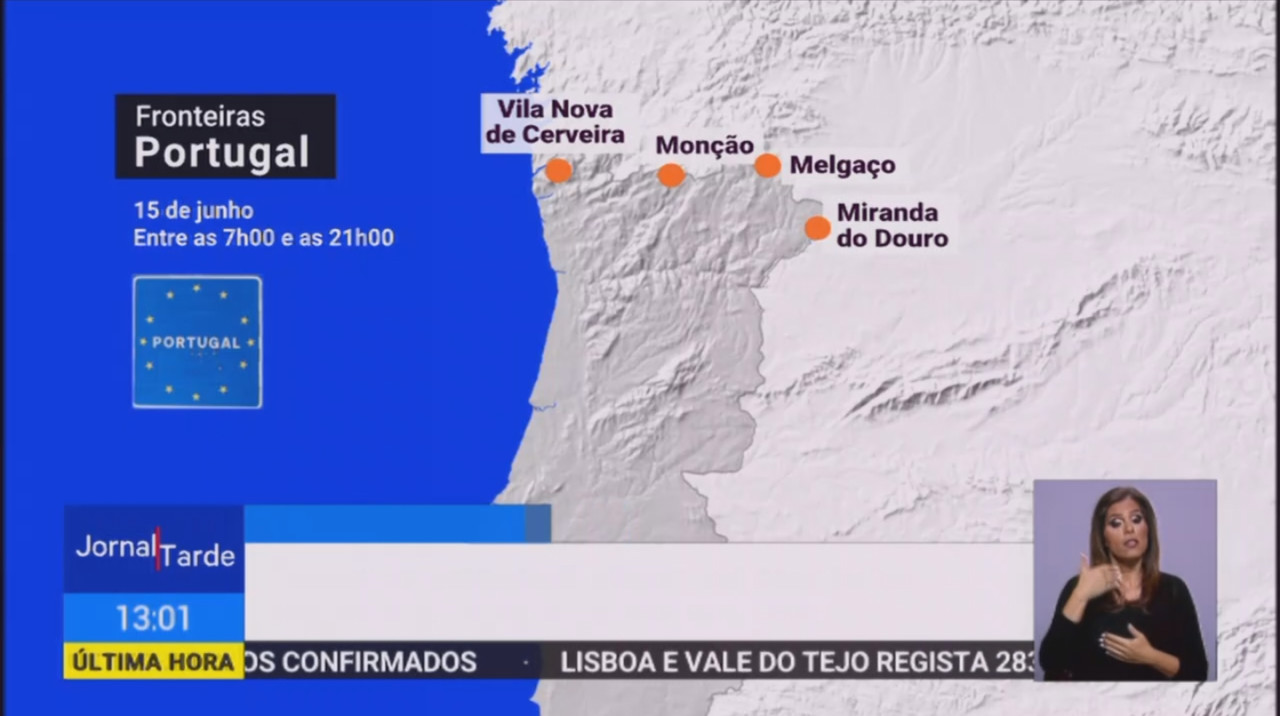 «Reabertura de fronteiras», in Jornal da Tarde, R.T.P., 11/VI/20