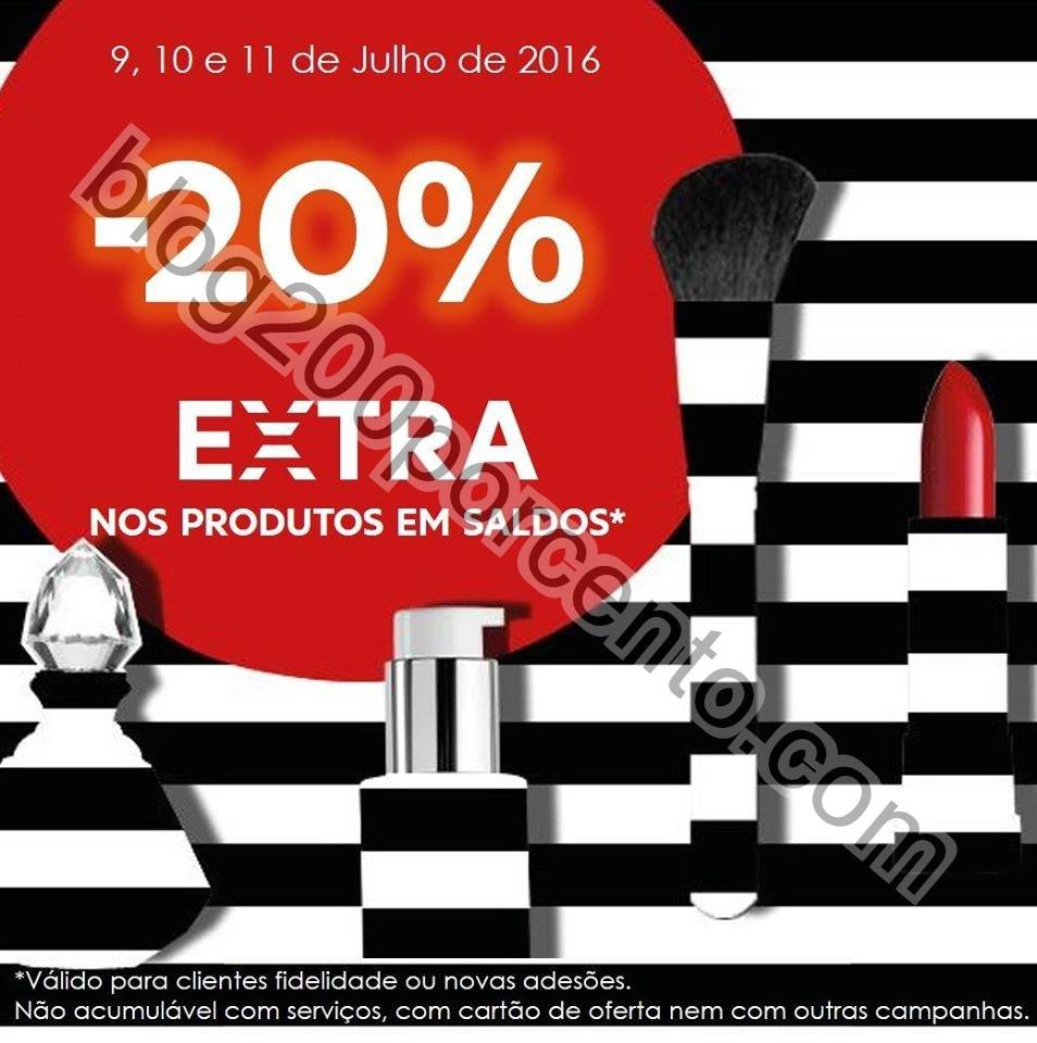20% desconto extra Saldos SEPHORA de 9 a 11 julho.