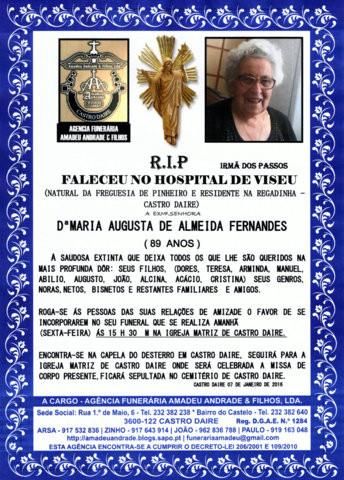 RIP-MARIA AUGUSTA DE ALMEIDA FERNANDES-89 ANOS (CA