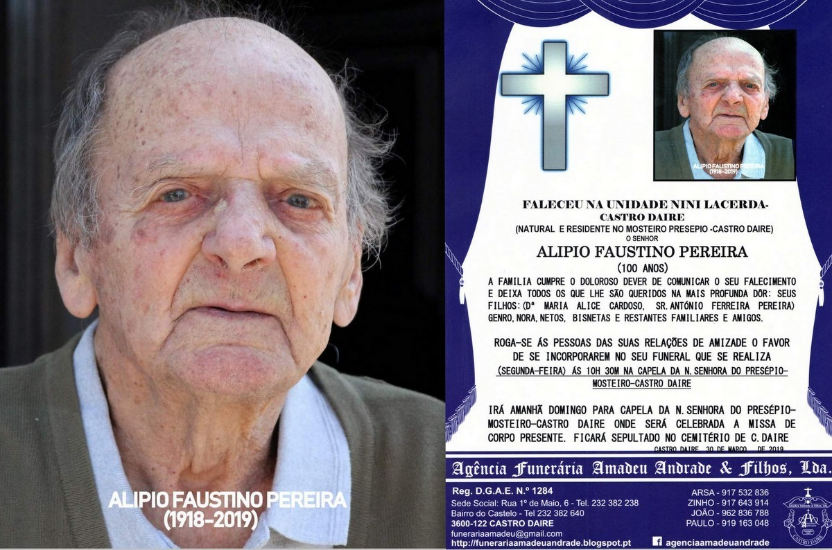 RIP FOTO - ALIPIO FAUSTINO PEREIRA -100 ANOS (MOST