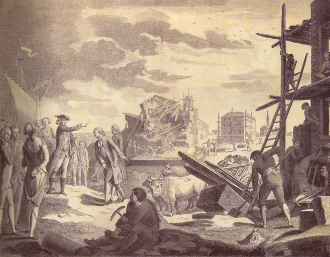 ... dirigindo a reconstrução de Lisboa depois do terramoto
