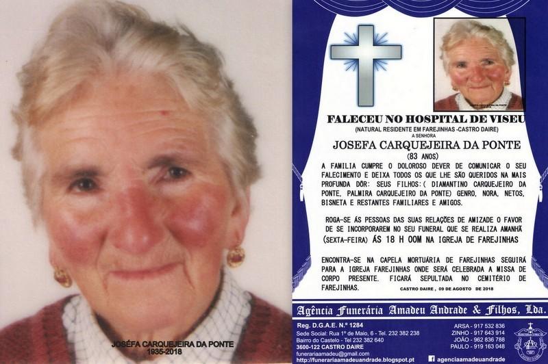 FOTO RIP-DE JOSEFA CARQUEJEIRA DA PONTE -83 ANOS (