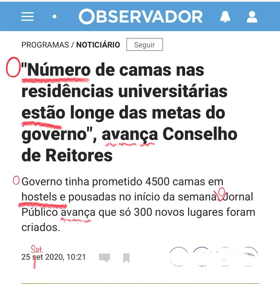 «Número da camas estão…», in Observador, 25/IX/20
