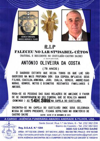 RIP- DE ANTÓNIO OLIVEIRA DA COSTA-78 ANOS (CUSTIL