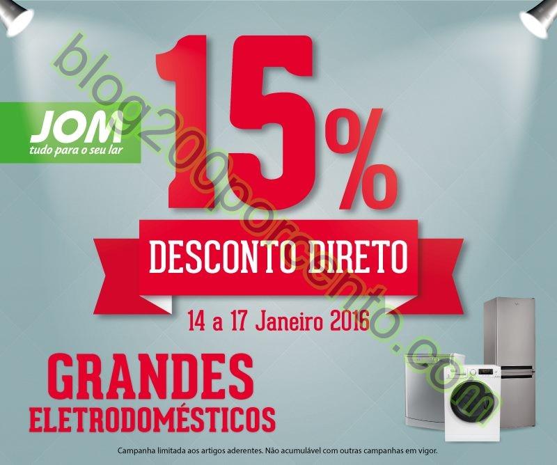 15% de desconto JOM promoções de 14 a 17 janeiro