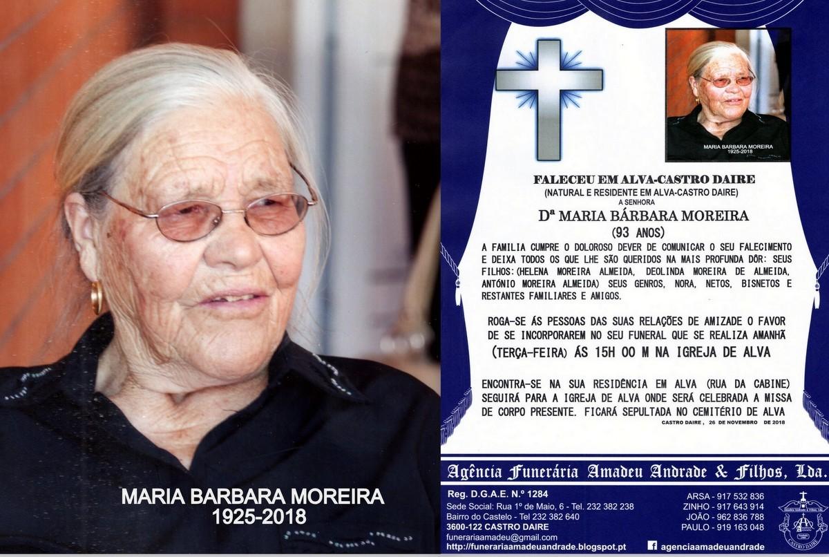 FOTO RIP-MARIA BARBARA MOREIRA -93 ANOS (ALVA-CAST