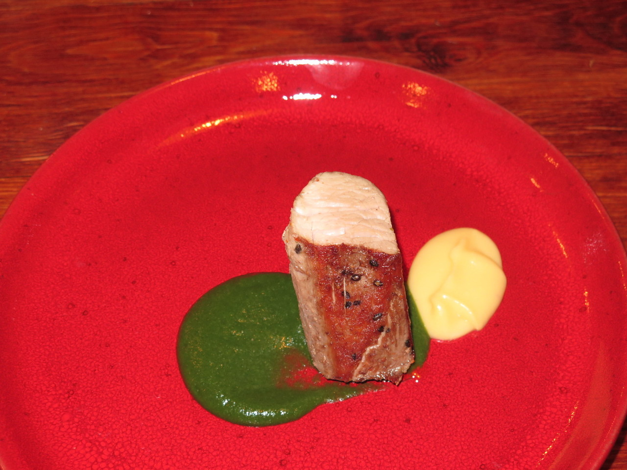 Lombo de Porco, Vinagreta de Batata-Doce, Puré de Alface