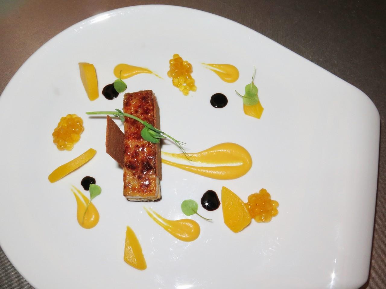 Terrina de Foie Gras e abóbora caramelizada, variação de pêssegos