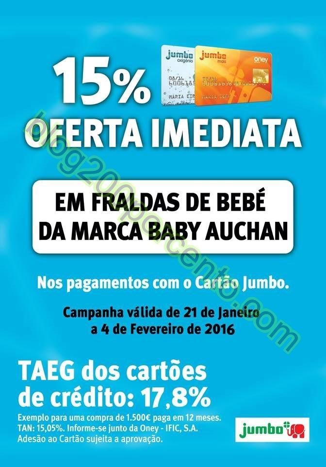 15% de desconto JUMBO Fraldas de bebé de 21 janei