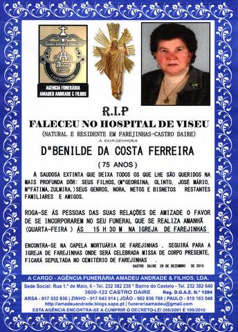 RIP- DE BENILDE DA COSTA FERREIRA-75 ANOS (FAREJIN