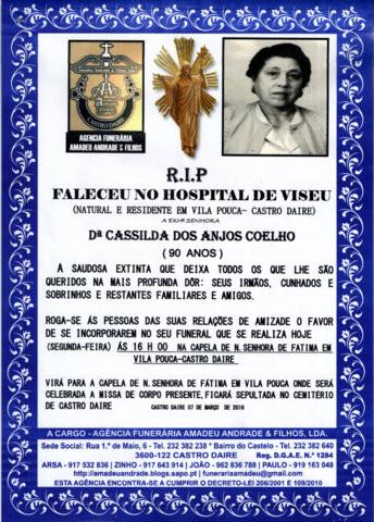 RIP2- DA SRªDªCASSILDA DOS ANJOS COELHO-90 ANOS