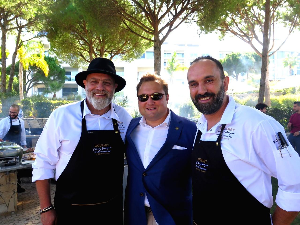 Joe Barza, Joachim Hartl (General Manager do Conrad Algarve), Osvalde Silva (chef do DADO)