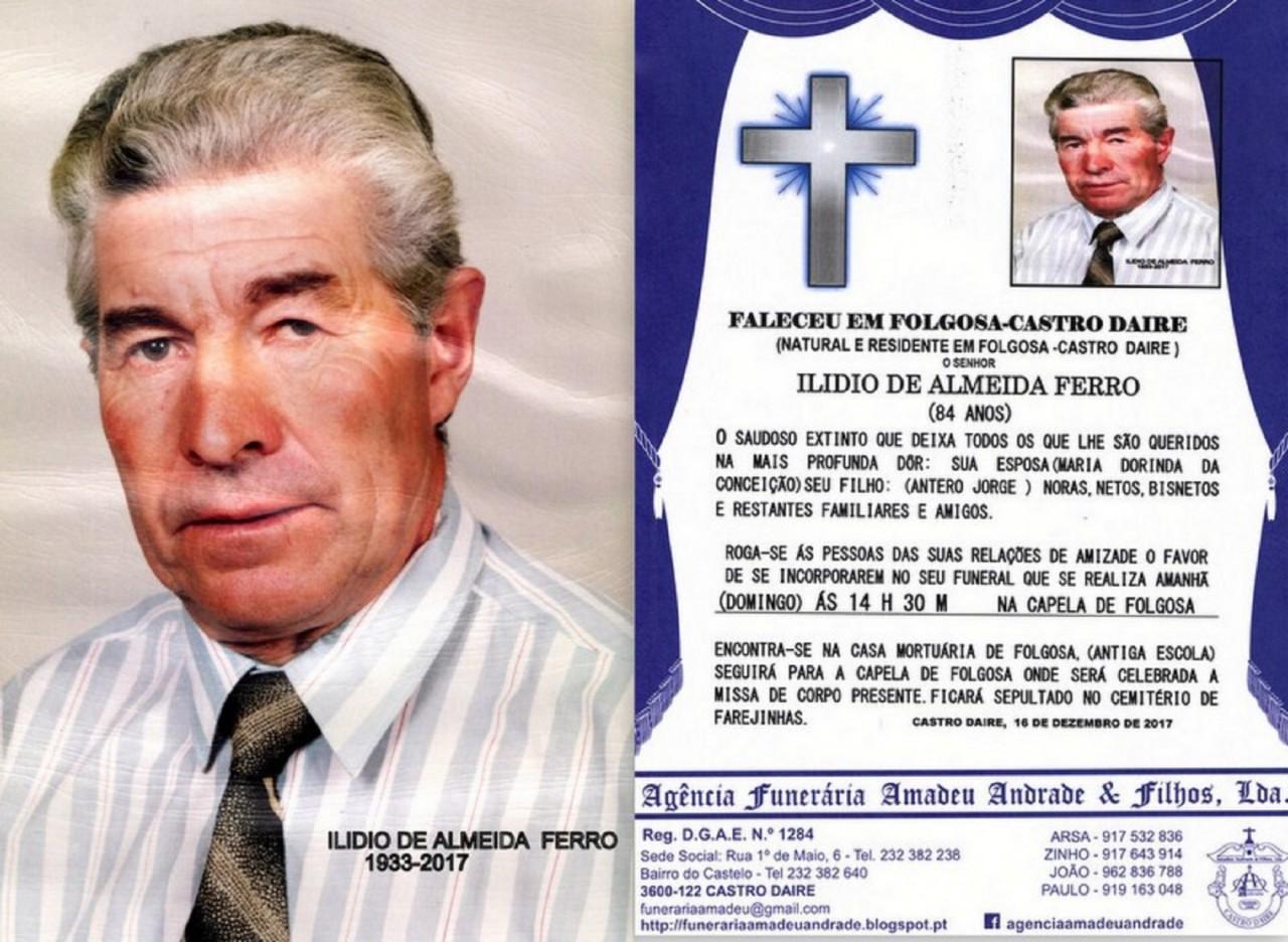 FOTO RIP DE ILIDIO DE ALMEIDA FERRO-84 ANOS (FOLGO