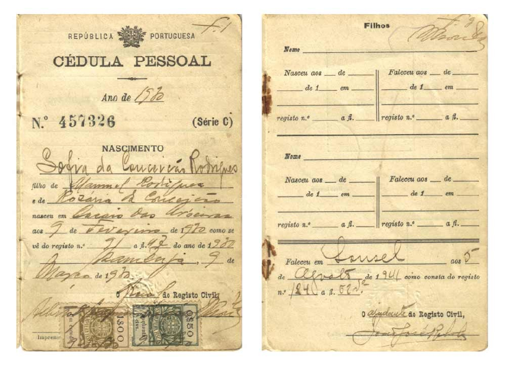 PORTUGAL, Cédula Pessoal n.º 457326, Azambuja, 1930