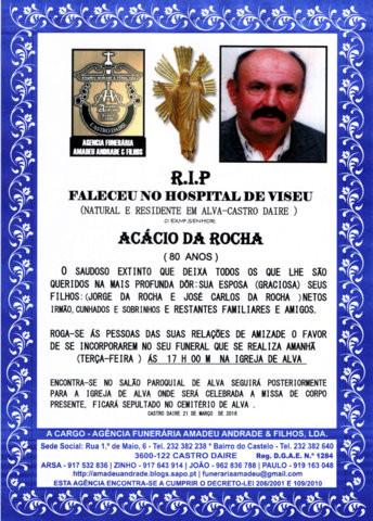 RIP4- DE AGRADECIMENTO- ACÁCIO DA ROCHA  -80 ANOS