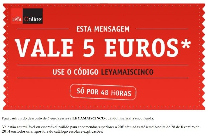 Vale de desconto 5€ | LEYA | até 28 fevereiro