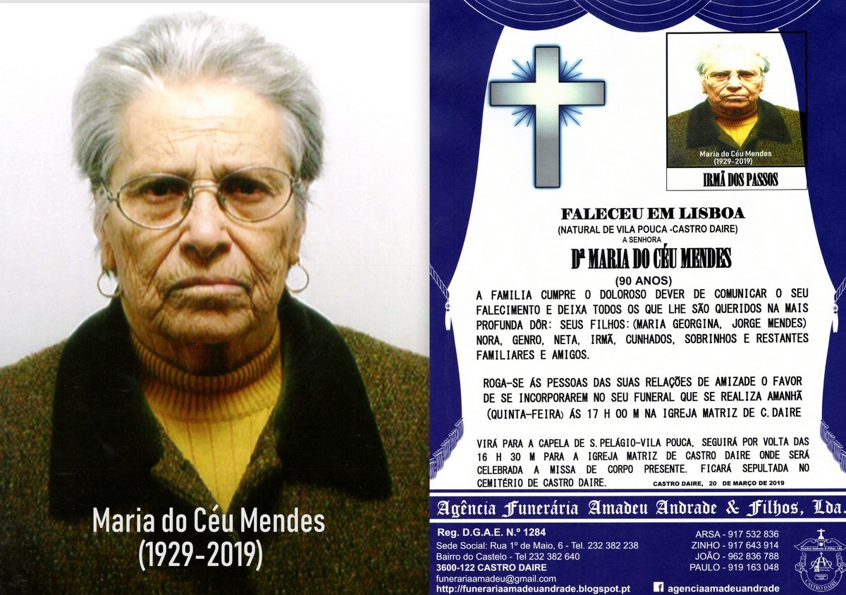 RIP FOTO -MARIA DO CÉU MENDES-90 ANOS (VILA POUCA