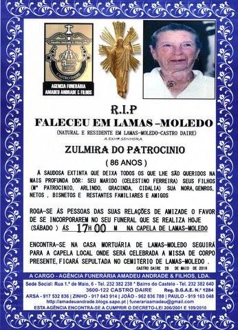 RIP2- ZULMIRA DO PATROCINIO -86 ANOS (LAMAS-MOLEDO
