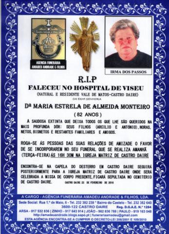 RIP- DE MARIA ESTELA ALMEIDA MONTEIRO -82 ANOS (CA