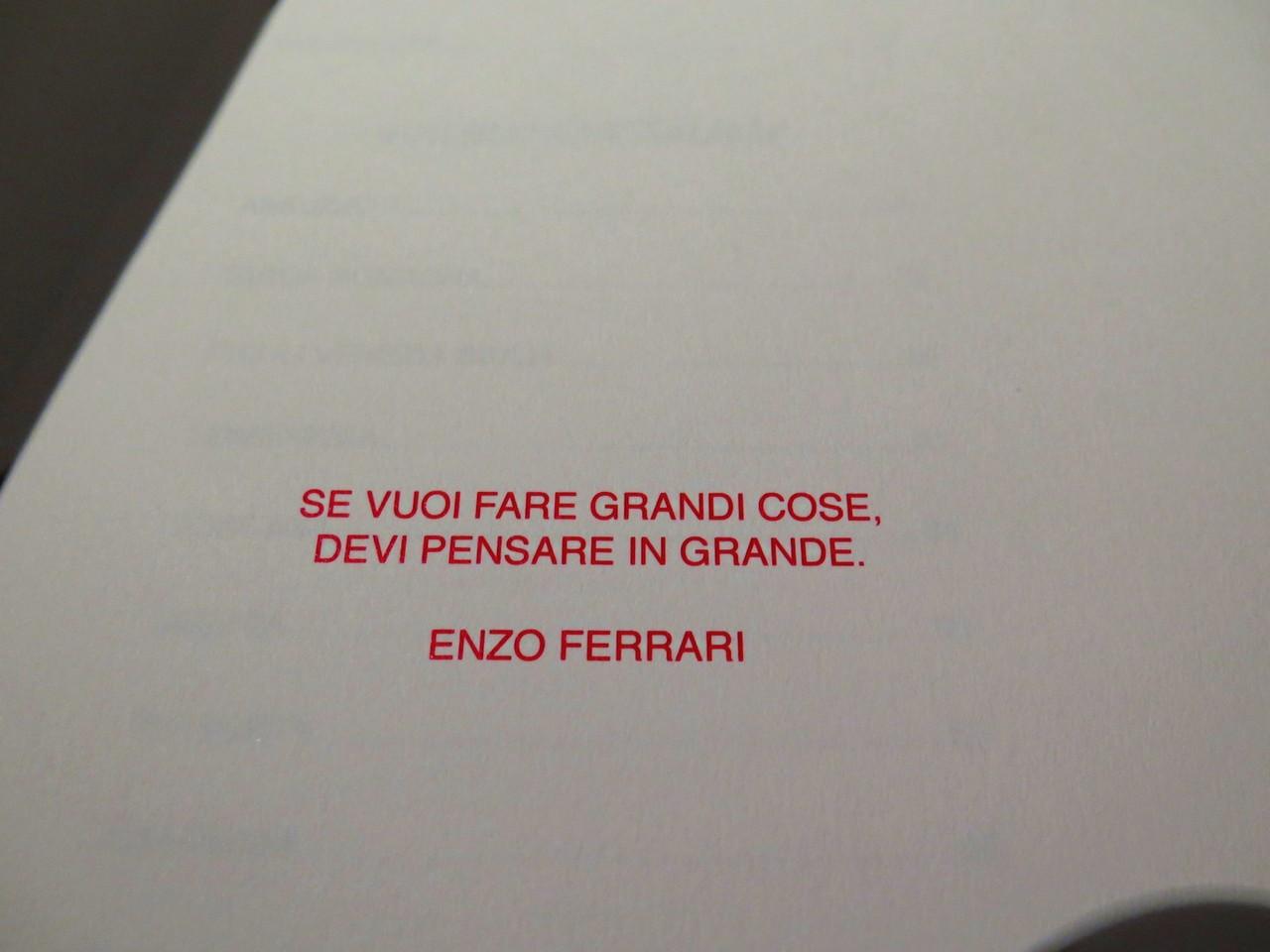 Enzo Ferrari na carta de vinhos da OSTERIA FRANCESCANA
