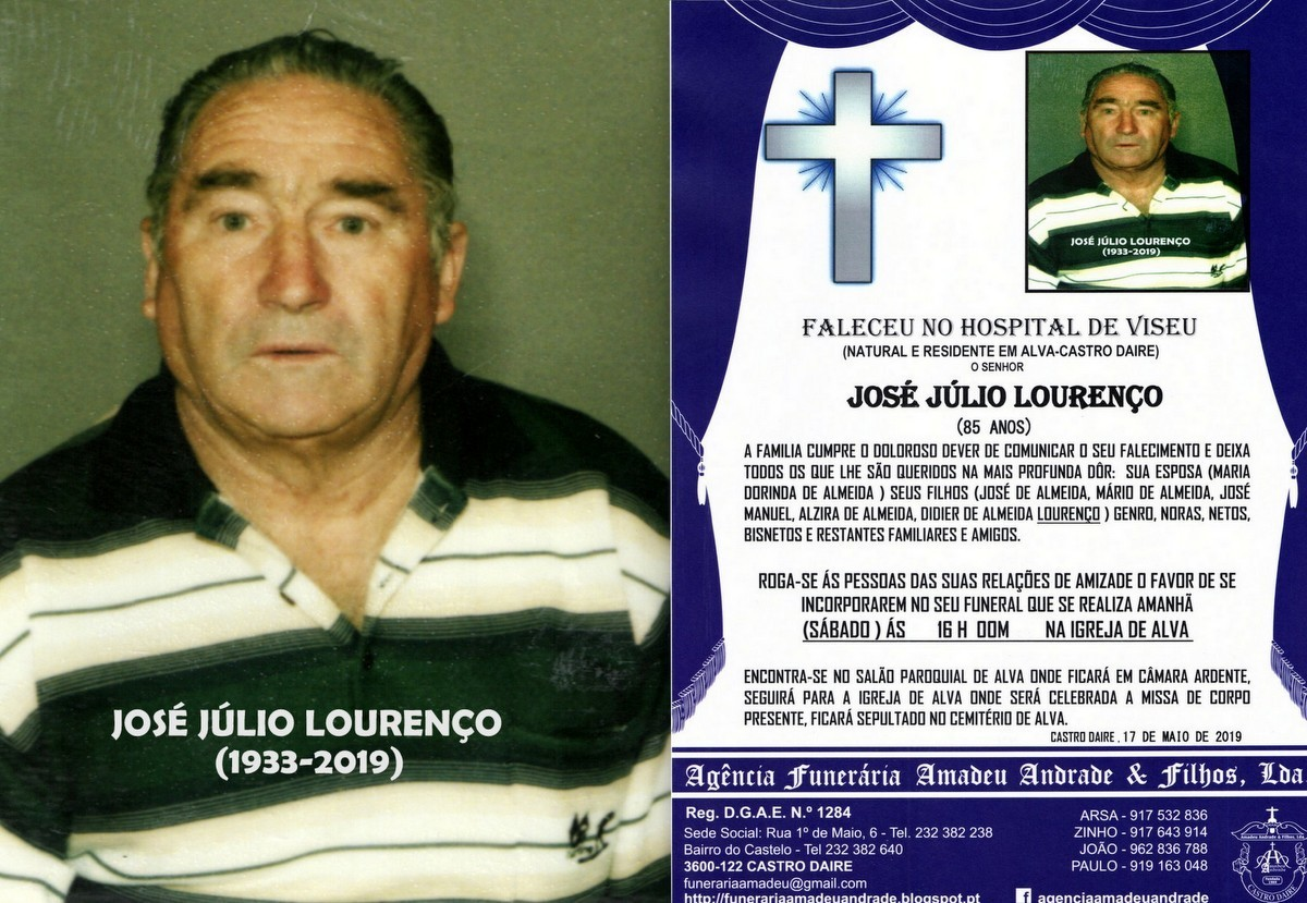FOTO RIP  DE JOSÉ JÚLIO LOURENÇO-85 ANOS (ALVA)