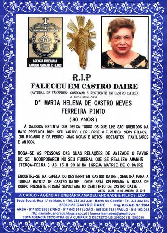 RIP- DE MARIA HELENA DE CASTRO NEVES FERREIRA PINT