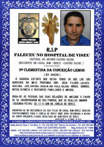 RIP- DA SENHORA CLEMENTINA DA CONCEIÇÃO LEMOS-83