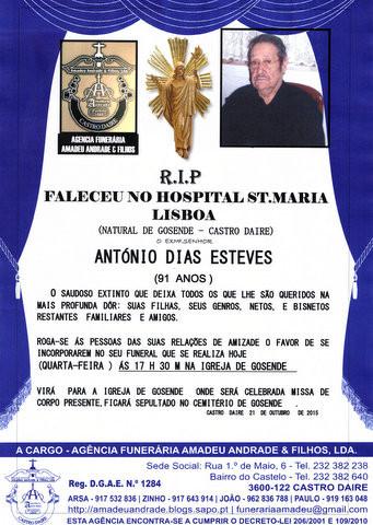 RIP- DE ANTÓNIO DIAS ESTEVES-91 ANOS (GOSENDE) (1