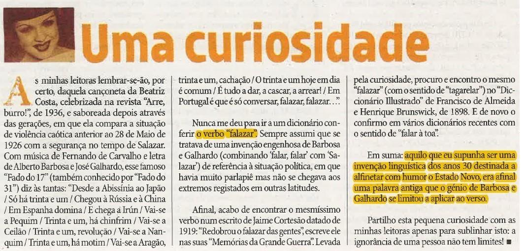 Maria de Aljubarrota, «Uma curiosidade», in O Diabo, 11/X/2019