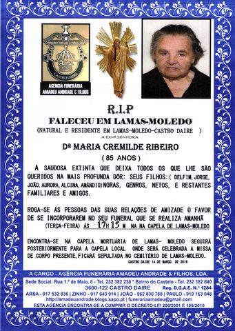 RIP5-MARIA CREMILDE RIBEIRO-85 ANOS (LAMAS-MOLEDO)
