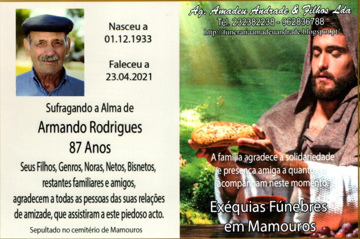 CARTÃO DE AGRADECIMENTO DE ARMANDO RODRIGUES-87 A