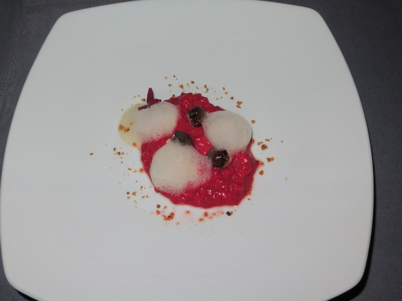 Brewer's yeast and Beet Risotto, sweet Gorgonzola and stewed Eel