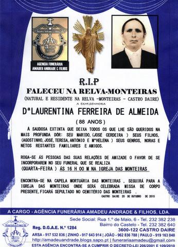 RIP- DE LAURENTINA FERREIRA DE ALMEIDA-88 ANOS (MO