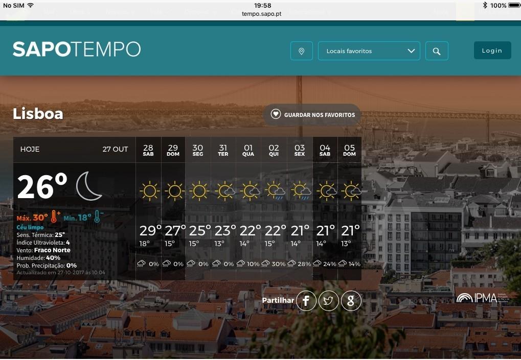 O tempo em Lisboa em 27 de Outubro de 2017, para memória futura.