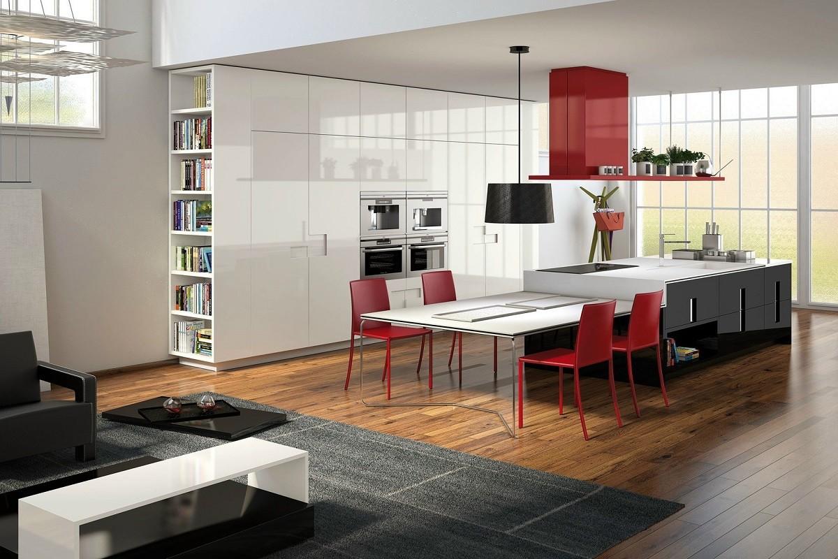 Cozinhas Modernas As 20 Melhores Fotos De Decora O E Design  ~ Cozinha Cinza Com Vermelho