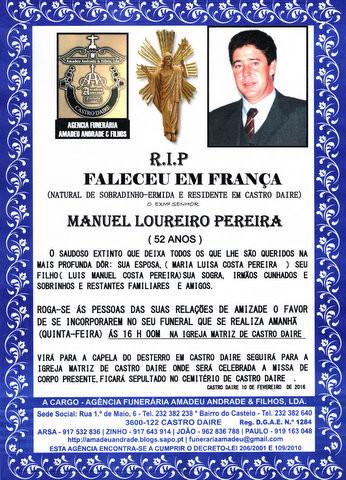 RIP5-MANUEL LOUREIRO PEREIRA-52 ANOS (CASTRO DAIRE