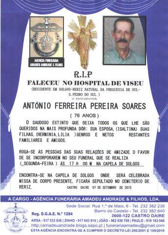 RIP-ANTÓNIO FERREIRA PEREIIRA SOARES-76 ANOS (SOL