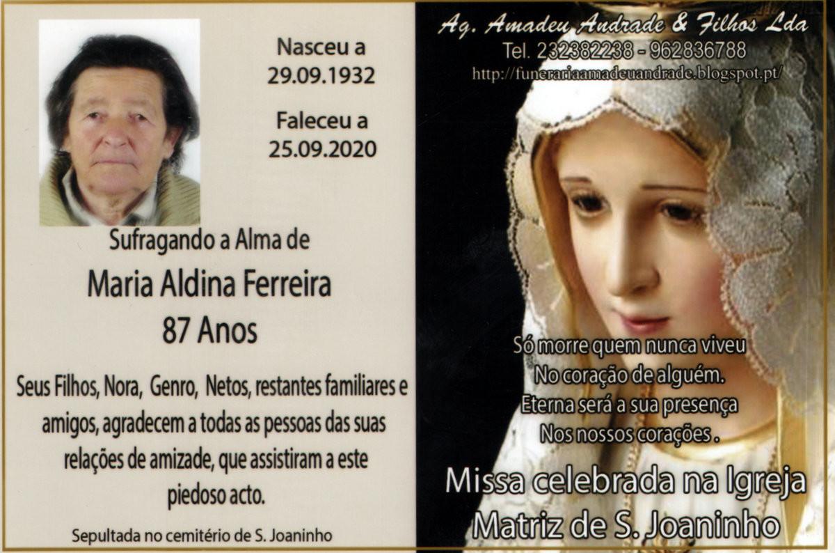 CARTÃO -MARIA ALDINA FERREIRA-87 ANOS (S.JOANINHO