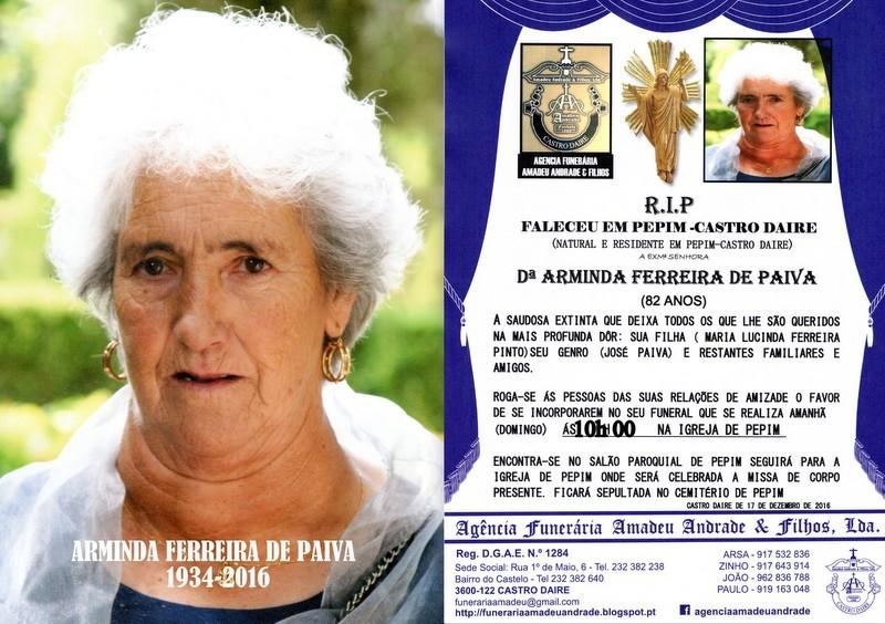 CARTÃO-FOTO - DE ARMINDA FERREIRA DE PAIVA-82 ANO