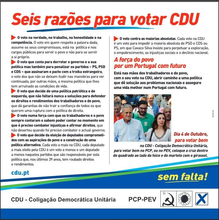 Seis razões para votar CDU