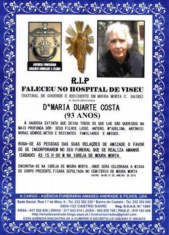 RIP- de Maria Duarte Costa -93 anos (Moura Morta)