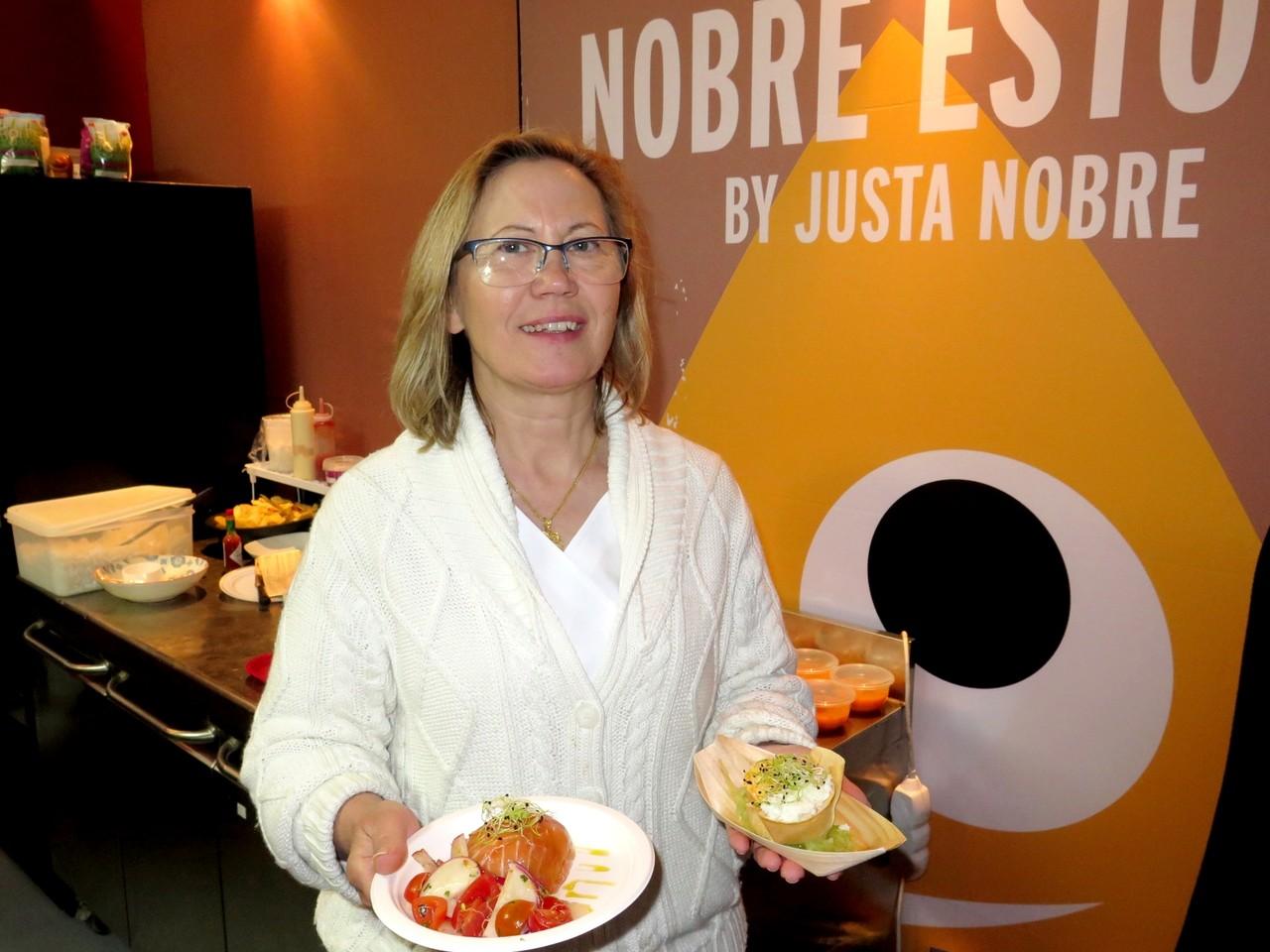 Justa Nobre, salmão e sapateira