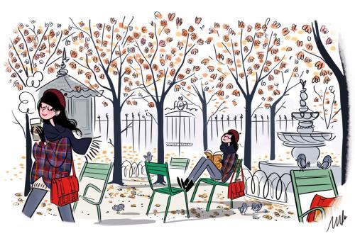 Leitura outonal  (ilustración de Magalie Foutrier