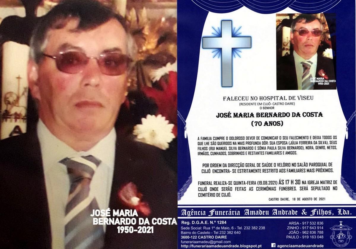 FOTO RIP  DE JOSÉ MARIA BERNARDO DA COSTA -70 ANO