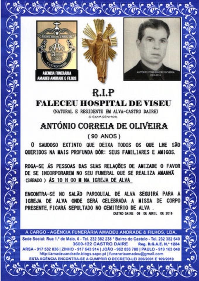 E-RIP -ANTÓNIO CORREIA DE OLIVEIRA - 90 ANOS (ALV