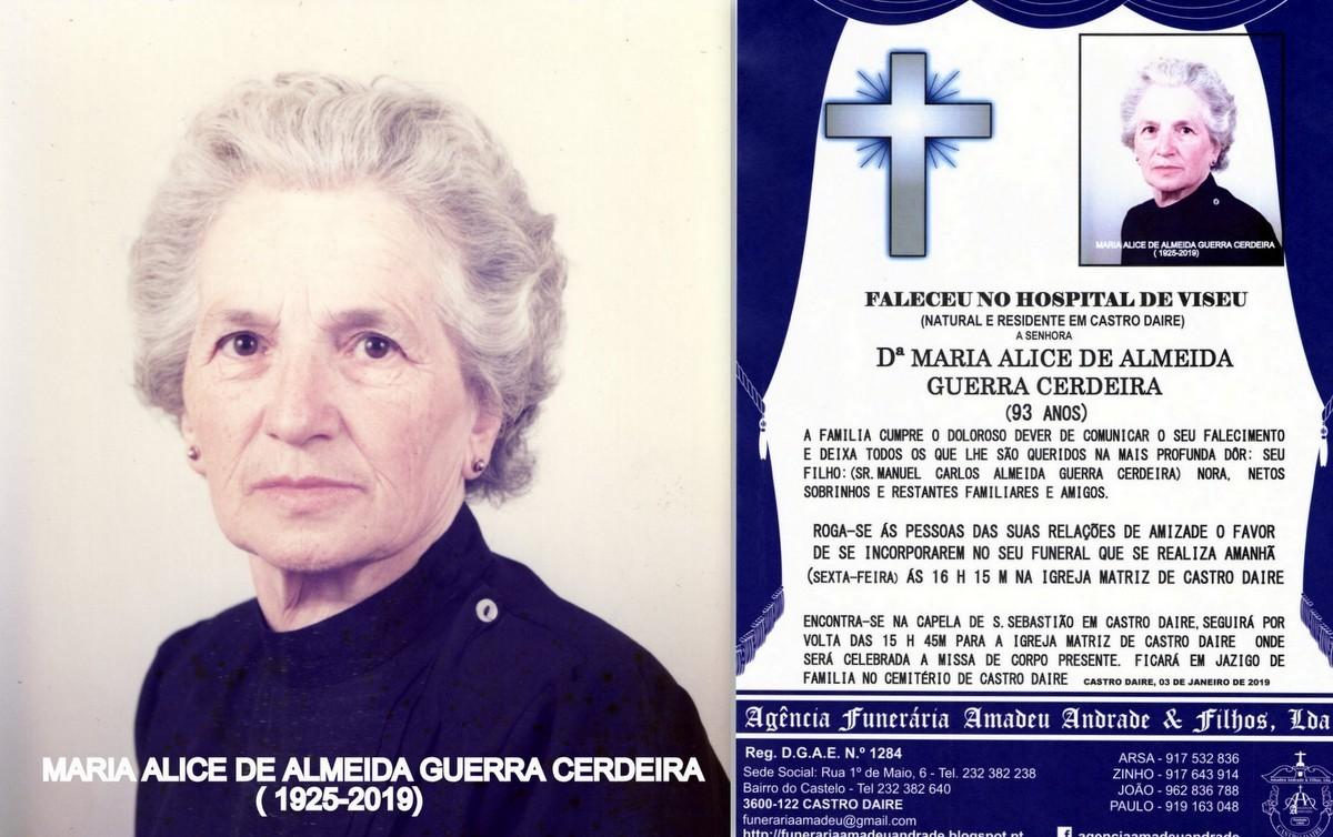 FOTO RIP  DE MARIA ALICE DE ALMEIDA GUERRA CERDEIR